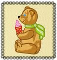 Ice cream for teddy embroidery design