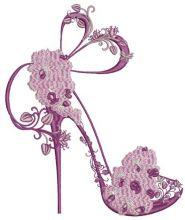 Shoes on a high heel decorated with orchid