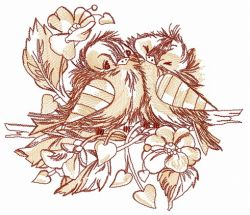 Funny couple of sparrows embroidery design