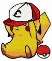 Pikachu in baseball cap embroidery design