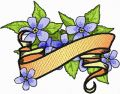 Forget-Me-Not Flower with Banner embroidery design