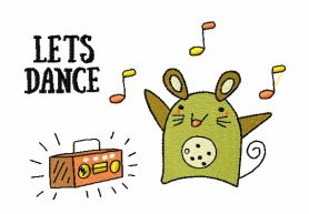 Let's dance machine embroidery design