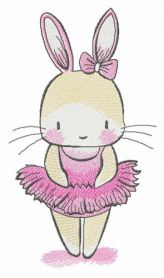 Tiny bunny ballerina machine embroidery design
