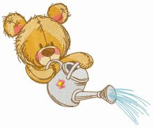 Teddy bear with watering can 11