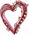 Ribbon heart embroidery design