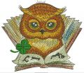 Clever owl reading a book embroidery design