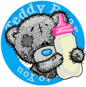 Teddy bear with milk machine embroidery design