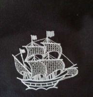 Seaship embroidered design