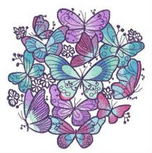 Blue and violet butterflies