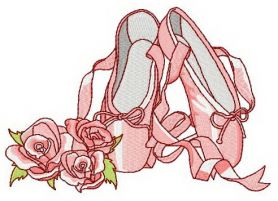 Pointe shoes machine embroidery design