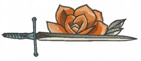 Sword and rose machine embroidery design