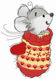 Mouse in mitten machine embroidery design