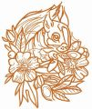 Squirrel and flowers one color embroidery design