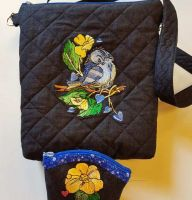 Bag set with Sparrow and flowers embroidery design