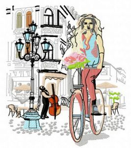 Cycling with bouquet