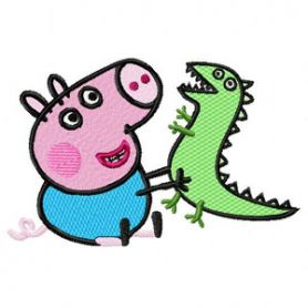 Peppa Pig with Caterpillar machine embroidery design