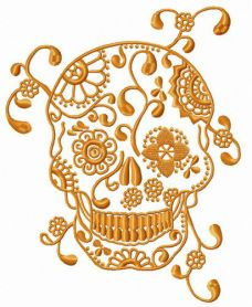 Skull with spring pattern machine embroidery design