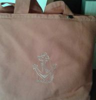 Embroidered shopping bag with vintage anchor design