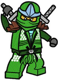 LEGO Ninjago Green Ninja Lloyd ZX machine embroidery design