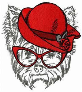 Terrier in red hat