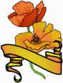 Golden Poppy with Banner embroidery design