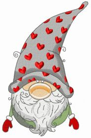 Gnome in phrygian cap with hearts machine embroidery design