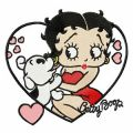 Betty Boop with dog embroidery design