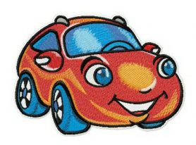 Marvelous red car machine embroidery design