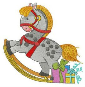 Ideal rocking horse machine embroidery design