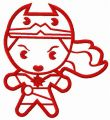 Small chibi Wonder Woman embroidery design