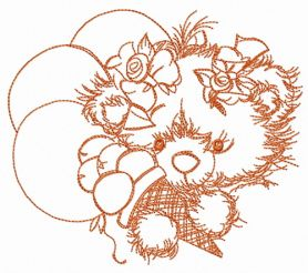 Teddy bear with balloons sketch machine embroidery design