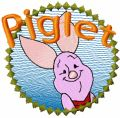 Piglet badge embroidery design