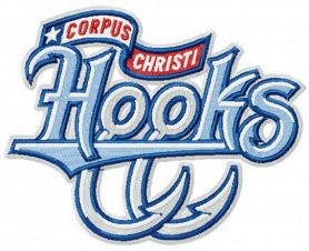 Corpus Christi Hooks team logo machine embroidery design