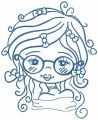 Romantic curly girl embroidery design