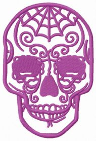 Purple skull machine embroidery design