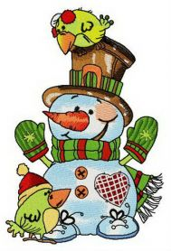 Snowman with couple of green birdies machine embroidery design