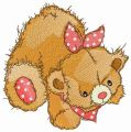 Teddy bear with polka dot bib embroidery design