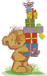 Teddy bear with gift boxes