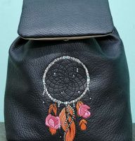 Embroidered women backpack with dreamcatcher design