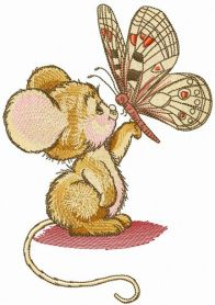 Mouse and butterfly machine embroidery design