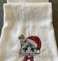 Christmas towel gift with cat embroidery design