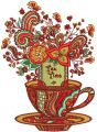 Tea time post card embroidery design