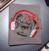 Napkin with stylish pug dog embroidery design