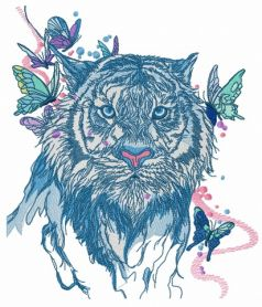 Wet tiger machine embroidery design