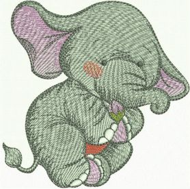 Elephant with tine flower bud machine embroidery design