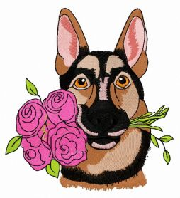 German Shepherd with roses machine embroidery design
