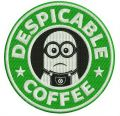 Despicable coffee embroidery design