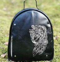Leather women backpack wolf dreamcatcher embroidery design