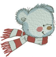 Bear in a warm striped scarf 6