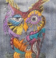 Owl in colors design embroidered3